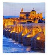 Mosque-cathedral And The Roman Bridge In Cordoba Fleece Blanket