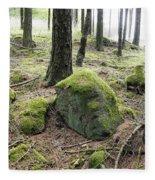 Moss-covered Boulder Fleece Blanket