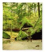 Moss Covered Rocks In Forest, Rocky Fleece Blanket