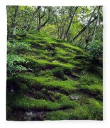 Moss Forest In Kyoto Japan Fleece Blanket