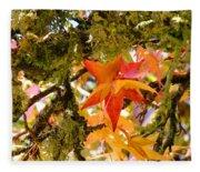 Mossy Lichen Tree Leaves Art Prints Autumn Fleece Blanket
