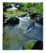 Mossy Rocks And Moving Water  Fleece Blanket
