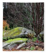 Mossy Rocks Garden Fleece Blanket