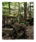 Mossy Rocks In The Forest Fleece Blanket
