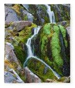 Mossy Waterfall At Snow Lake Fleece Blanket