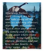 Most Powerful Prayer With Goose Flying And Autumn Scene Fleece Blanket
