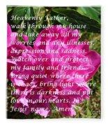 Most Powerful Prayer With Peony Bush Fleece Blanket