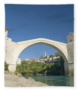 Mostar Bridge In Bosnia Fleece Blanket