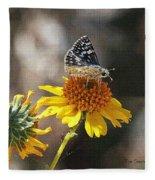 Moth And Flower Fleece Blanket
