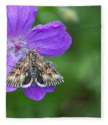 Moth Feeding On Geranium Sanguineum Fleece Blanket