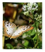 Moth On White Flower Fleece Blanket