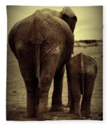 Mother And Baby Elephant In Black And White Fleece Blanket