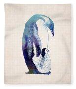Mother And Baby Penguin Fleece Blanket