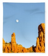 Mother And Child And Moon 21 Fleece Blanket