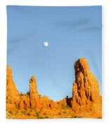 Mother And Child And Moon 25 Fleece Blanket