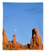 Mother And Child And Moon Fleece Blanket