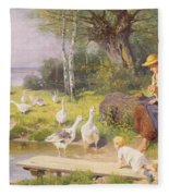 Mother And Child With Geese Fleece Blanket
