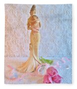 Mother And Child With Pink Tulips Fleece Blanket