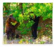 Mother Bear And Cub Fleece Blanket