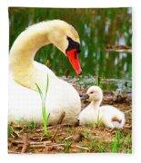 Mother Swan And Baby Fleece Blanket