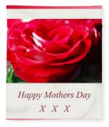 Mothers Day A Red Rose Fleece Blanket