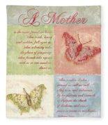 Mother's Day Butterfly Card Fleece Blanket