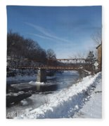 Motor Mill In Winter Fleece Blanket