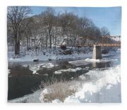 Motor Mill Winter Pano Fleece Blanket