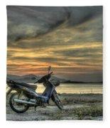 Motorbike At Sunset Fleece Blanket