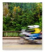Motorcycle And Green Forest Fleece Blanket