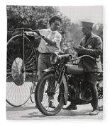 Motorcycle And Velocipede - 1921 Fleece Blanket