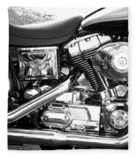 Motorcycle Close-up Bw 3 Fleece Blanket