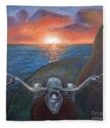 Motorcycle Sunset Fleece Blanket