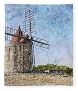 Moulin De Daudet Fontvieille France On A Texture Dsc01833 Fleece Blanket