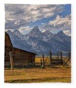 Moulton Barn Panorama - Grand Teton National Park Wyoming Fleece Blanket