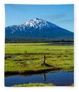 Mount Bachelor And Meadow Fleece Blanket