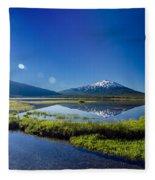 Mount Bachelor Lens Flare Fleece Blanket