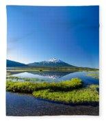 Mount Bachelor Vertical Reflection Fleece Blanket