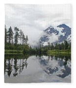 Mount Baker- Lake- Fir Trees And  Fog Fleece Blanket
