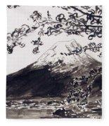 Mount Fuji Spring Blossoms Fleece Blanket