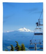 Mount Jefferson And Chairlifts Fleece Blanket