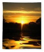 Mount Lassen Sunrise Gold Fleece Blanket