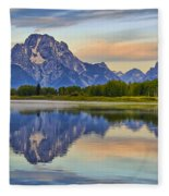 Mount Moran At Sunrise Fleece Blanket