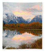 Mount Moran Reflection Sunset Fleece Blanket