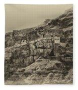 Mount Of The Temptation Monestary Jericho Israel Antiqued Fleece Blanket