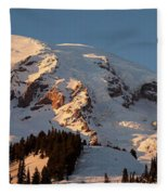 Mount Rainier Alpenglow Fleece Blanket