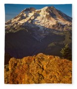 Mount Rainier At Sunset With Big Boulders In Foreground Fleece Blanket