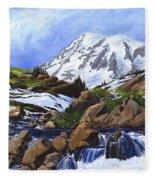 Mount Rainier From Edith Creek Fleece Blanket
