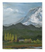 Mount Rainier From Lake Rap John  Fleece Blanket