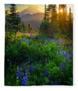 Mount Rainier Sunburst Fleece Blanket